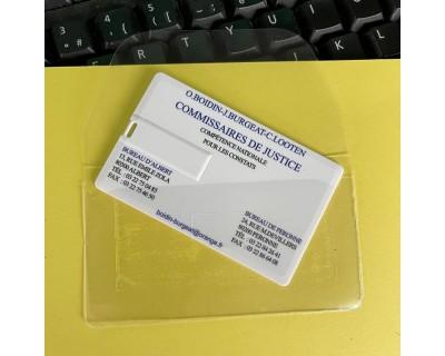 Pochette de clé USB carte de visite dos adhésif autocollant avec un rabat